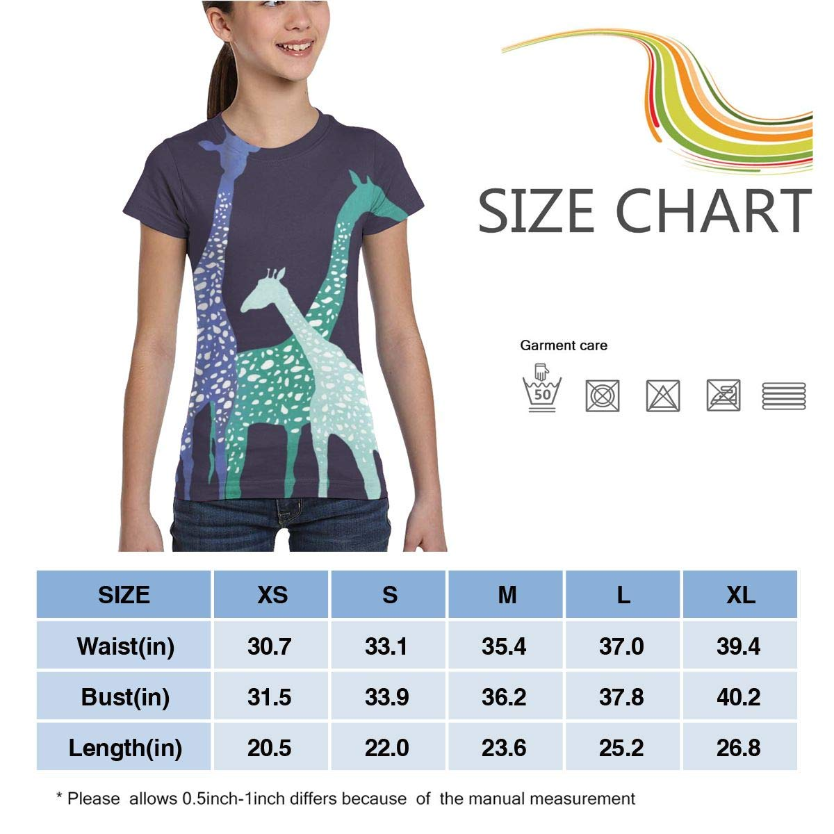 XS-XL L6Nv4o@A Girls Short Sleeve Cartoon Giraffe Shirts Casual Blouse Clothes