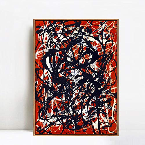 INVIN ART Framed Canvas Art Free Form by Jackson Pollock Abstract Wall Art Living Room Home Office Decorations(Champagne Slim Frame,28