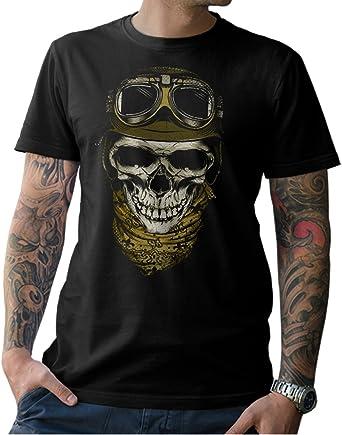 NG articlezz Camiseta Cráneo del Motorista - Calavera Moto Negro Hombre s- 5xl: Amazon.es: Ropa y accesorios