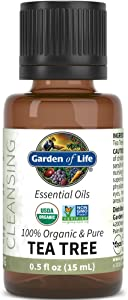 Garden of Life Essential Oil, Tea Tree 0.5 fl oz (15 mL), 100% USDA Organic & Pure, Clean, Undiluted & Non-GMO - for Diffuser, Aromatherapy, Meditation - Cleansing, Refreshing, Purifying