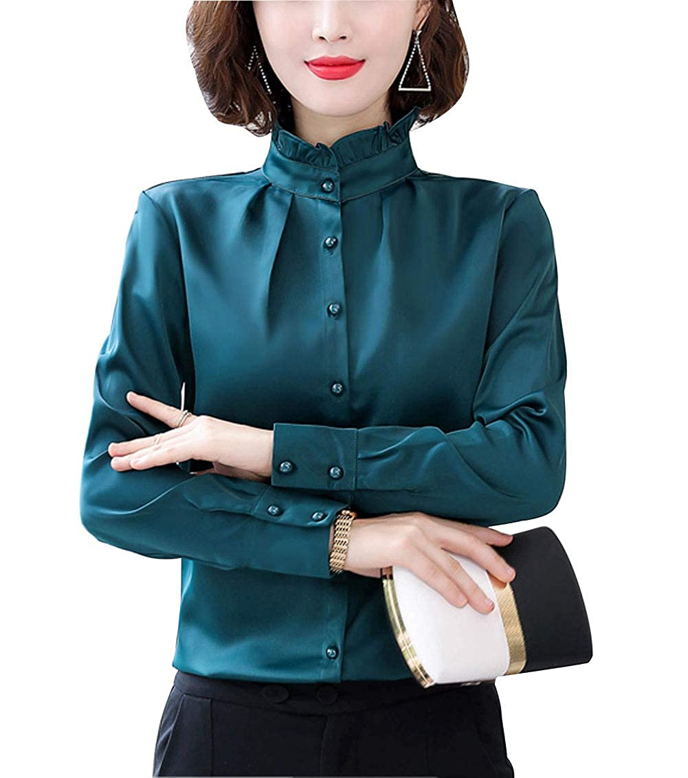 Victorian Blouses, Tops, Shirts, Sweaters Women Vintage Pleated Collared Button Down Shirt Long Sleeve Blouse Stretch $18.99 AT vintagedancer.com