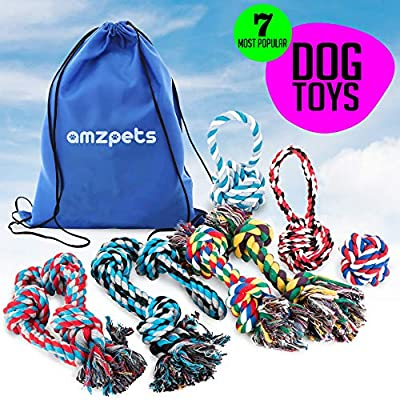 AMZpets Dog Toy Set for Large Dogs and Aggressive Chewers - 7 Nearly Indestructible Cotton Ropes. Tough Durable Heavy Duty Chew Toys Kit for Big Puppy Breed Teething, Tug of War Play. Giant Dog Games