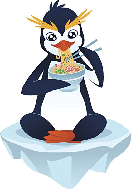 Amazoncom Cute Macaroni Penguin Eating Noodles Cartoon Vinyl Decal