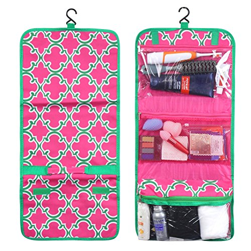 Zodaca Travel Hanging Cosmetic Toiletry Organizer Carry Bag, Pink Quatrefoil