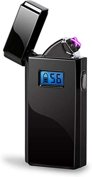 Dual Arc Plasma Lighter Ignition Times Counter USB Rechargeable LED Screen Windproof Electric Lighter (Black)