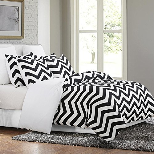 Vaulia Lightweight Microfiber Duvet Cover Set, Print Chevron Pattern, Reversible Design, Black