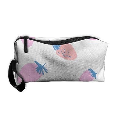 SDTTYHNM Travel Bag Cosmetic Bags Brush Pouch Studded Strawberry Portable Makeup Bag Zipper Wallet Hangbag Pen Organizer Carry Case Wristlet Holder