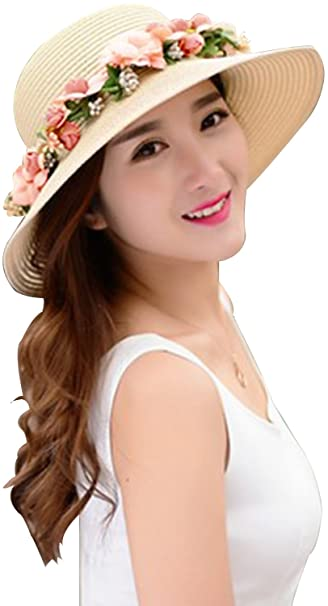 456fbc70e71 Lovful Womens Spring Summer Sun Protection Floppy Hats Travel Outdoor Beach  Visor Straw Hats with Flower