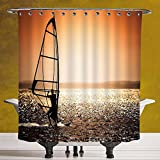 Cool Shower Curtain 3.0 [Coastal Decor,Windsurfer Silhouette Sunset Water Sports Summertime Fun Holiday,Dark Orange Black White] Waterproof and Mildewproof Polyester Fabric Bath Curtain Design