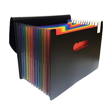 2d31ea9645e4 YEBMoo 13 Pockets Expanding Files Folder/ A4 Expandable File  Organizer/Portable Accordion File Folder/High Capacity Multicolour  Stand/Plastic Business ...