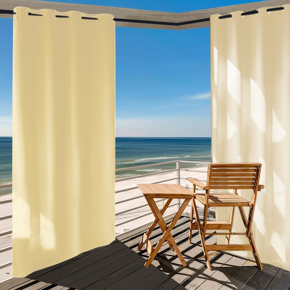 Outdoor Curtain Panel for Patio 50x120-Inch - Home Cal Versatile Thermal Insulated Grommets Blackout UV Ray Protected Waterproof Outdoor Curtain/Drape for Patio/Front Porch, Beige