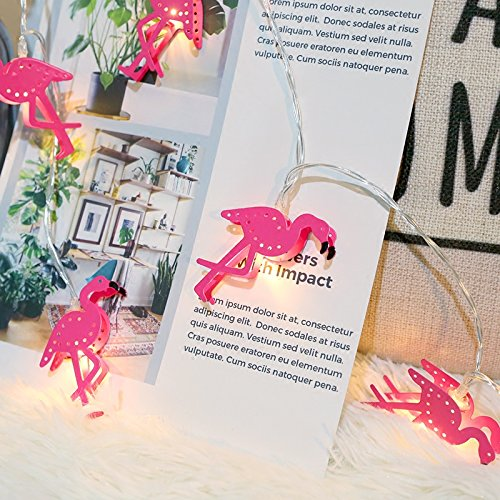 ZONYEO 20 LED Metal Flamingos String Lights, Indoor LED Party Fairy String Lights Battery Operated For Christmas Wedding Party Bedroom Birthday Decoration by ZONYEO
