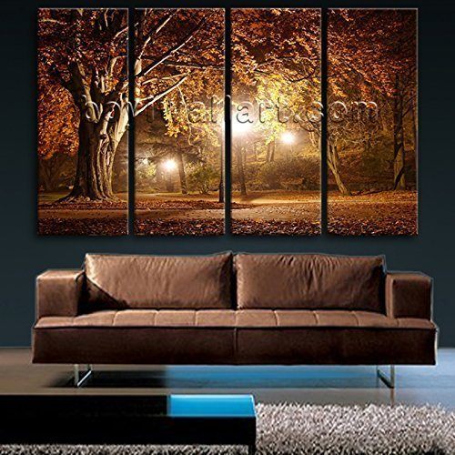 Extra Large Wall Art HD Picture Print Canvas Modern Autumn Landscape Tree Fall, Oversized Landscape Wall Art, Living Room, Raw Umber