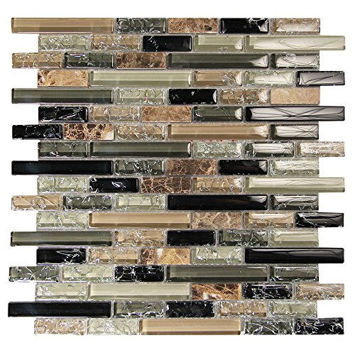 Green Brick Pattern Linear Mosaic Glass Tile - Green, Black Cracked Glass, Brown Marble - Backsplashes, Walls - Eros 1 (4 x 6 Inch Sample)