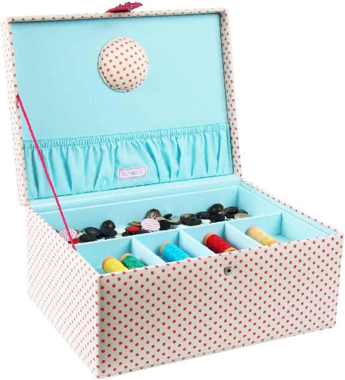 grande medium Blue D/&D cestino organizer in legno con accessori per la casa e per i viaggi color blu a pois scatola da cucito con kit da cucito con accessori
