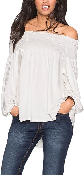 Camisetas Mujer Blancas Manga Larga Cuello Barco Sin Hombros Basicas Elegantes Suelto Hippie Fashion Hipster Casual Primavera Otoño Camisas Camiseta Blusas T-Shirt Tops: Amazon.es: Ropa y accesorios