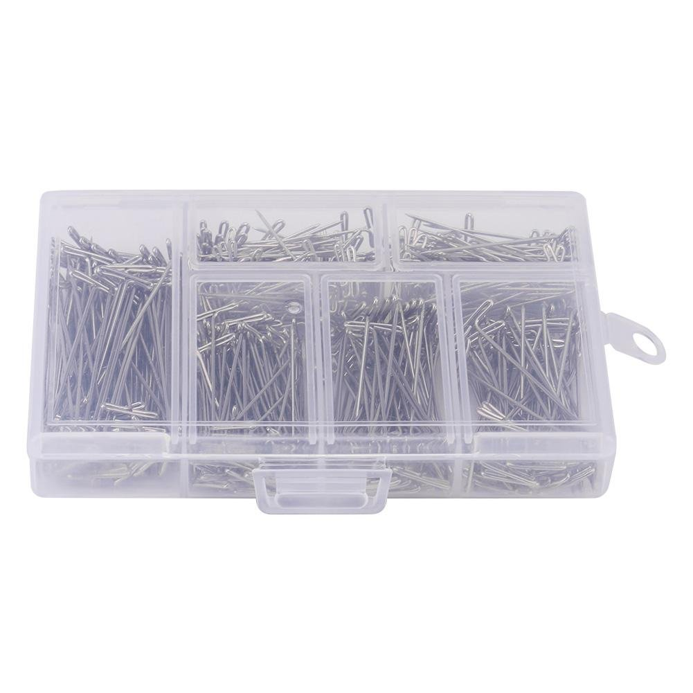 Asixx DIY Steel T-pins, 450 Pieces Steel T Pins DIY Styling Tool For Wig Toupee Making Fix On Canvas Block Head(450Pcs)