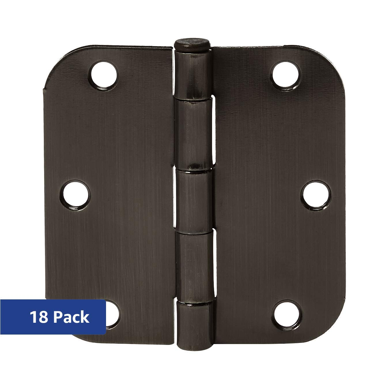 AmazonBasics Rounded 3.5 Inch x 3.5 Inch Door Hinges, 18 Pack, Oil Rubbed Bronze