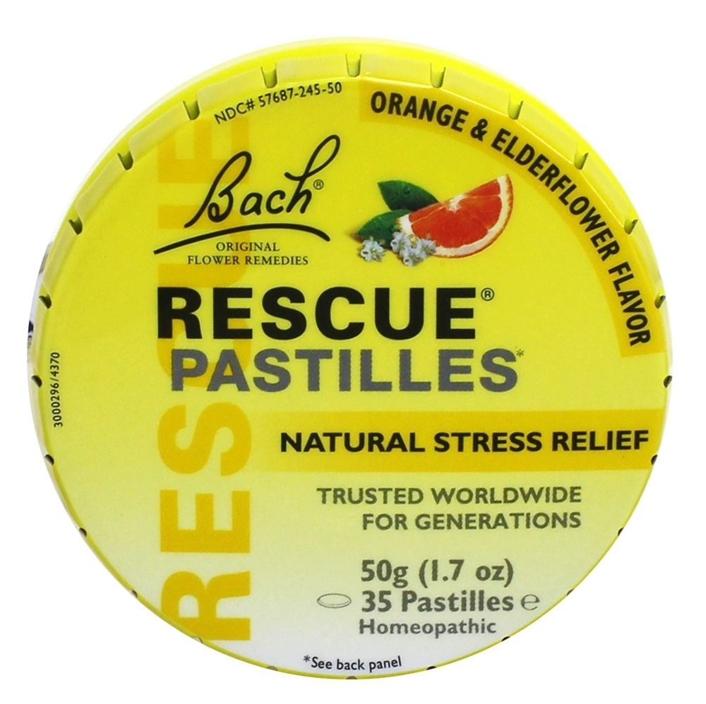 Bach Rescue Pastilles Natural Stress Relief, Original Orange & Elderflower, 1.7 oz (Packaging May Vary)