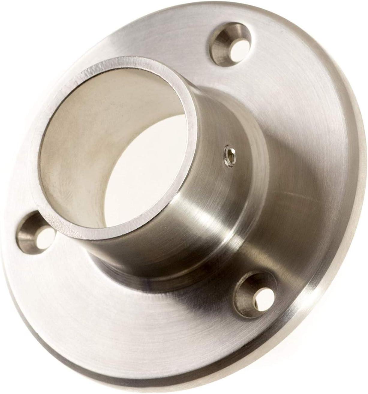 Brida de pared y suelo para tubo redondo de 42,4 mm. Diámetro de la placa: 84,5 mm. Conector de pared de acero inoxidable V2A lijado. 1 pieza.