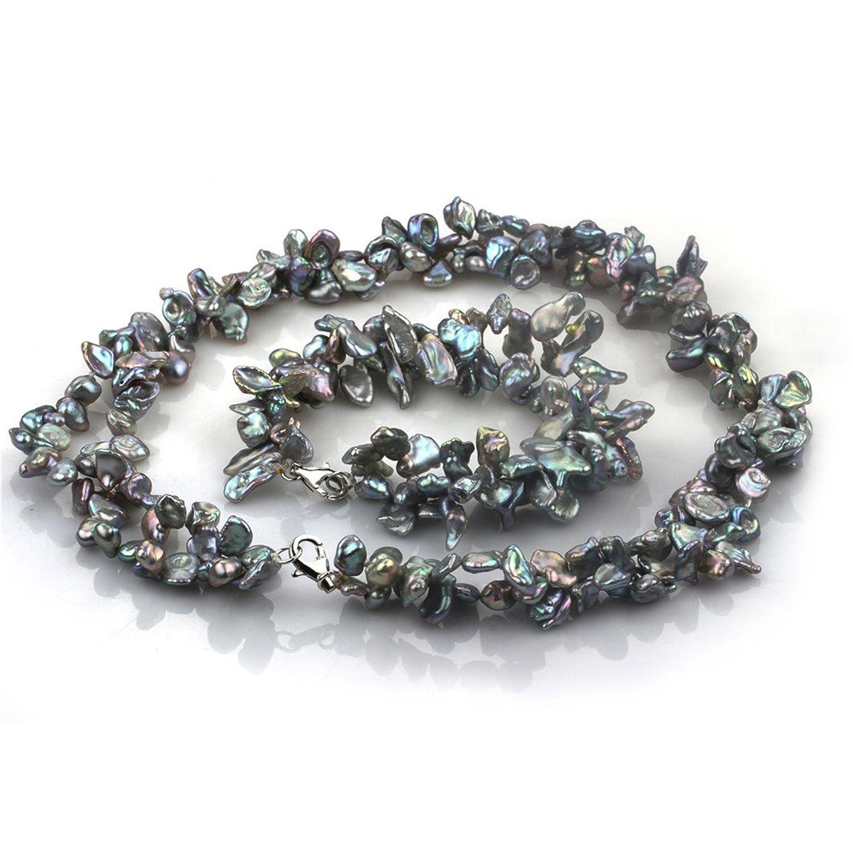 Chpel 6-7mm keshi freshwater pearl set necklace 18'' bracelet 8''