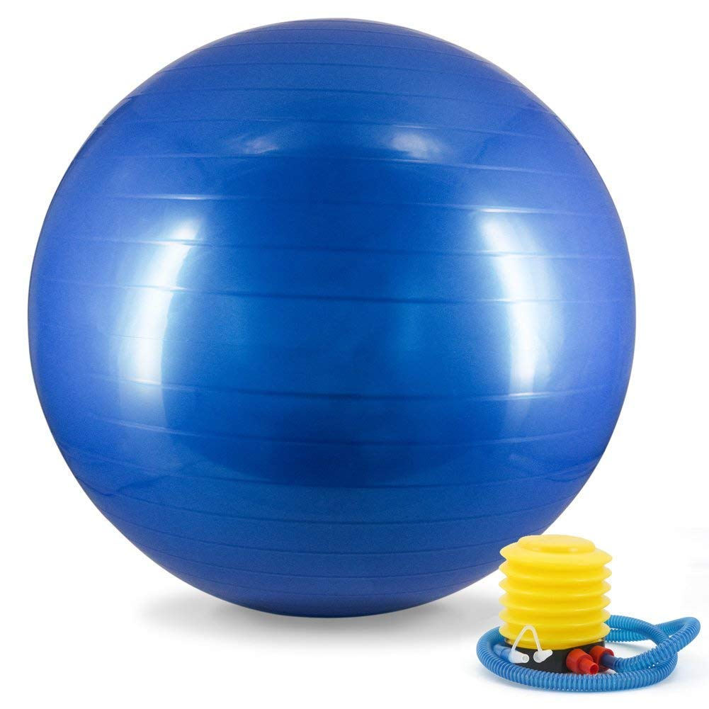 Dingcheng Yoga-Ball, Gymnastikball, Gymnastikball, Fitnessball, Schwangerschaftsball, 65 cm, mit Pumpe, Anti-Burst & Anti-Rutsch, Blau