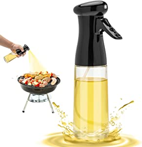 Olive Oil Sprayer for Cooking - 200ml Glass Oil Dispenser Bottle Spray Mister - Refillable Food Grade Oil Vinegar Spritzer Sprayer Bottles for Kitchen, Air Fryer, Salad, Baking, Grilling, Frying
