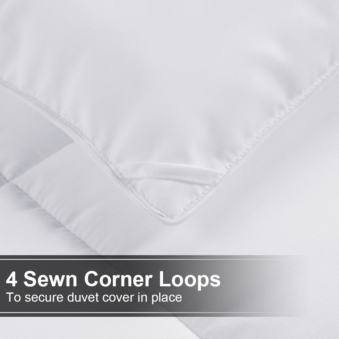 All Season Queen Goose Down Alternative Quilted Comforter with Corner Tabs - Hypoallergenic -Double Plush Fabric -Super Microfiber Fill -Machine Washable - Duvet Insert & Stand-Alone Comforter - White by Balichun (Image #4)