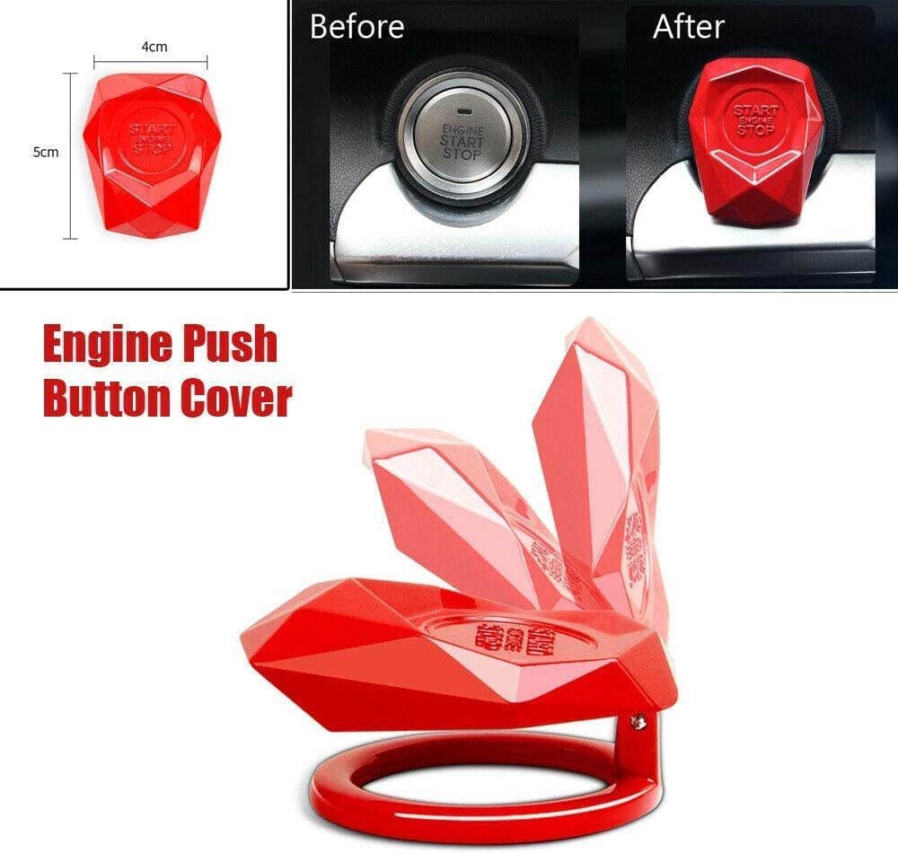 Anti-Friction Car Engine Start Stop Switch Button Protection Cover,Car Push to Start Button Cover,Prevent Children from Touching,Decorative Auto Parts Blue Maintenance Engine Button