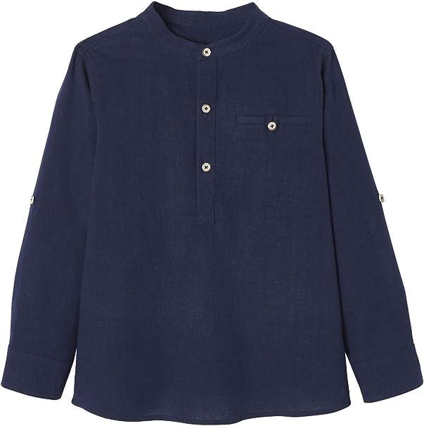 VERTBAUDET Camisa de Lino/algodón para niño con Cuello Mao, de Manga Larga Azul Oscuro Liso 8A: Amazon.es: Ropa y accesorios