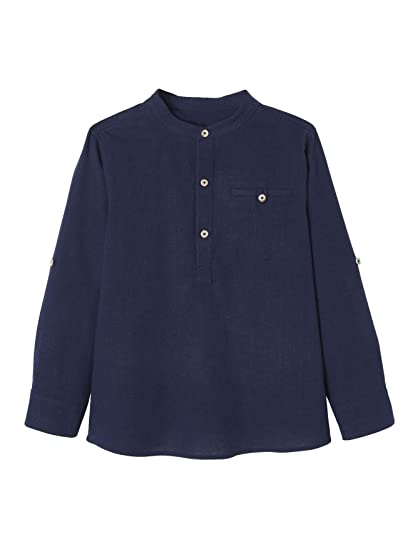 VERTBAUDET Camisa de Lino/algodón para niño con Cuello Mao, de ...