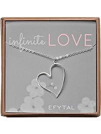 EFYTAL Infinite Love Open Heart Necklace Sterling Silver Asymmetrical Jewelry Gift 4 Wife,Girlfriend,Anniversary