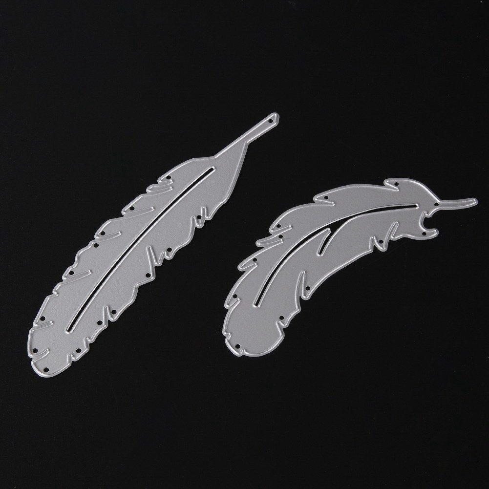 Cikuso Dies Scrapbooking Bricolage Album de Bricolage Decoupage Carre Stencils Embossing Album de Scrapbooking Cutting Dies Pochoirs Matrices de Decoupe Loisirs Creatifs Plume 2PCS