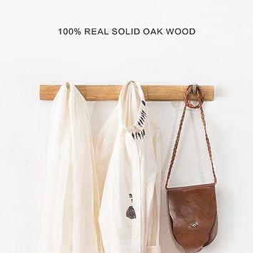 Amazon.com: INMAN Wall Mounted Coat Rack/Rail Solid Oak Wood Hook for Coat Clothes Hats Key Towels Hanger- Wooden Peg Rack Metal Liberty Hooks Rail Holder ...