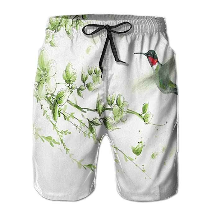 60075e6f89 Hummingbirds and Flowers Men's Swim Trunks Quick Dry Bathing Suits with  Mesh Liner 3 Pockets White