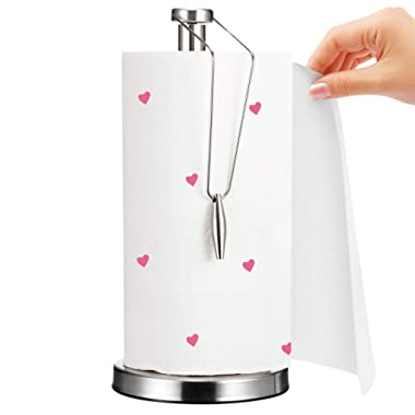 [2018 UPGRADE] Paper Towel Holder, AmazeFan Stainless Steel Paper Towel Holder with Non-Slip Silicone Mat - Quick One Handed Tear, Fits Standard and Jumbo-Sized Rolls for Kitchen Countertop