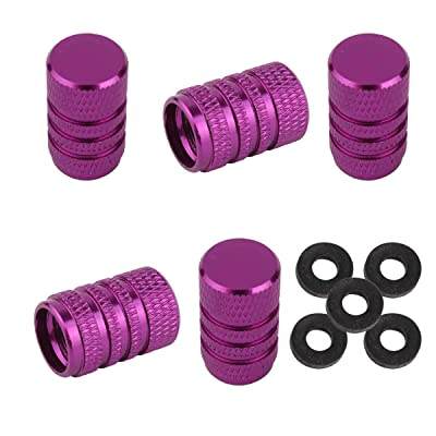 Winka Tire Caps Round Style Valve Stem Caps Auto Car Truck Motocycle Bicycle Wheel Tyre Valve Caps Purple 5Pcs: Automotive