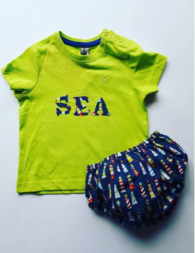 Cubrepañal Bebe Faros del Mar con camiseta a juego ranita bebe ...