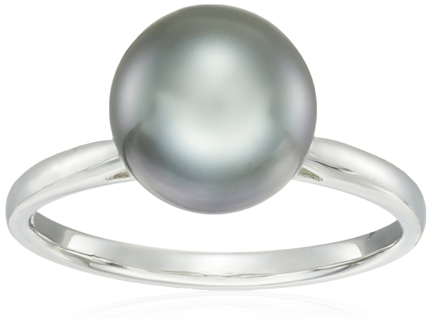 14k White Gold Natural Color AA Quality Tahitian Cultured Pearl Ring, Size 7 (9-10mm)