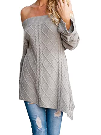 Joeoy Women s Gray Sexy Off Shoulder Long Sleeve Loose Fit Cable Knit  Sweater Pullover Top- a57711b78