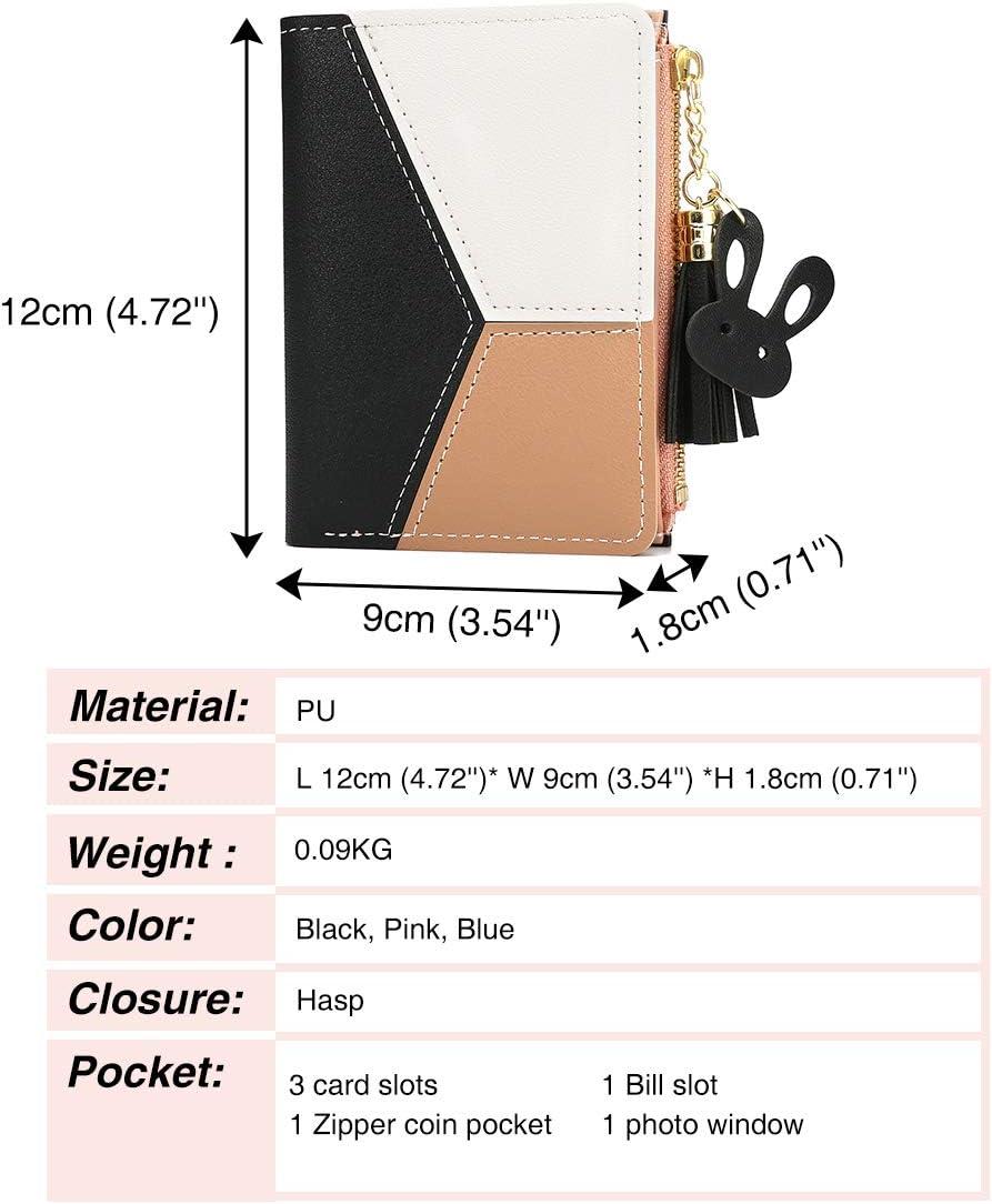 JOSEKO Tassel PU Leather Multi-Slots Small Wallet Slim Card Holder Purse for Women Purple 3.74x 0.79x 4.84 L x W x H