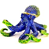 Octopus Jeweled Trinket Box, Hand Set Blue Swarovski Crystal, Hand Painted Blue & Green Enamel Over Pewter, L 3.50 x H 2.00 x W 4.50