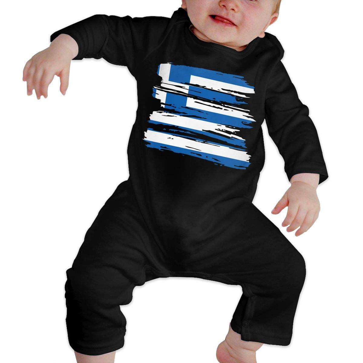 UGFGF-S3 Grunge Greece Greek Flag Baby Girl Long Sleeve Romper Jumpsuit Infant Romper Jumpsuit