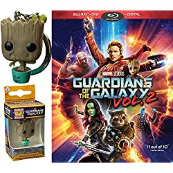 Marvel Groot Exclusive Pocket Pop! Bobble Head Guardians of the Galaxy Vol. 2 Bundle (Blu-ray + DVD + Digital) Cinematic Universe Super Hero Movie & Exclusive Keychain