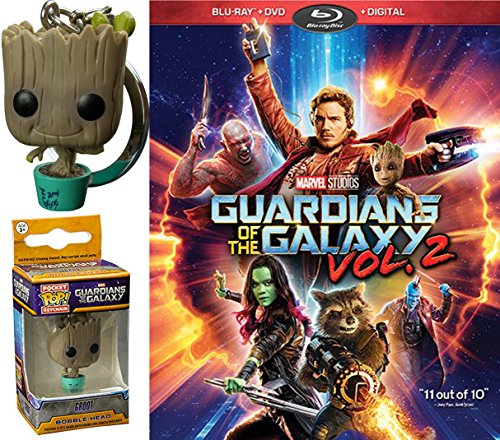 (Marvel Groot Exclusive Pocket Pop! Bobble Head Guardians of the Galaxy Vol. 2 Bundle (Blu-ray + DVD + Digital) Cinematic Universe Super Hero Movie & Exclusive Keychain)