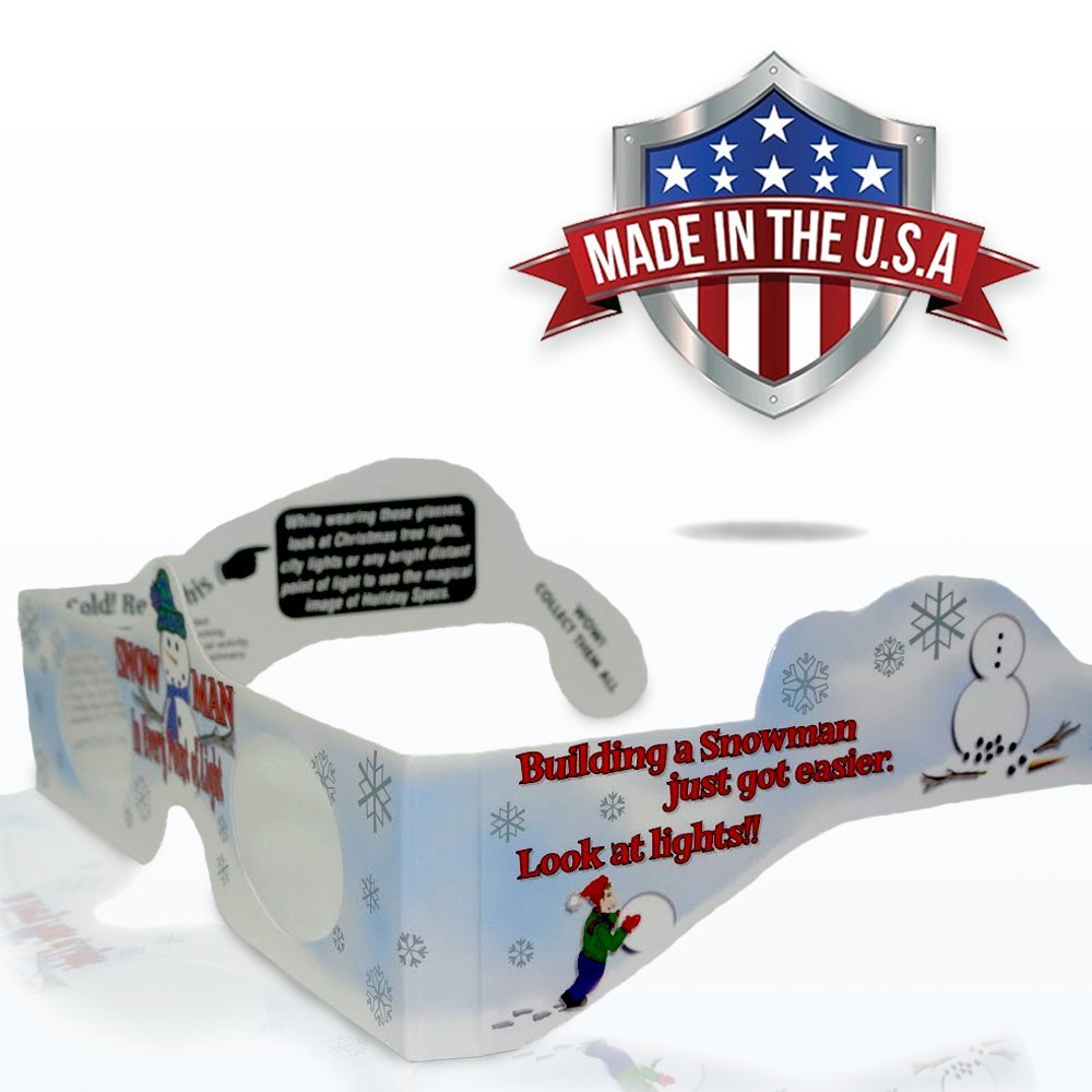 Turn Holiday Lights Into Magical Images 5 Pack See a SNOWMAN For A Christmas Experience Our USA MADE Holiday Specs Are Perfect For Festivities! 3D Christmas Glasses