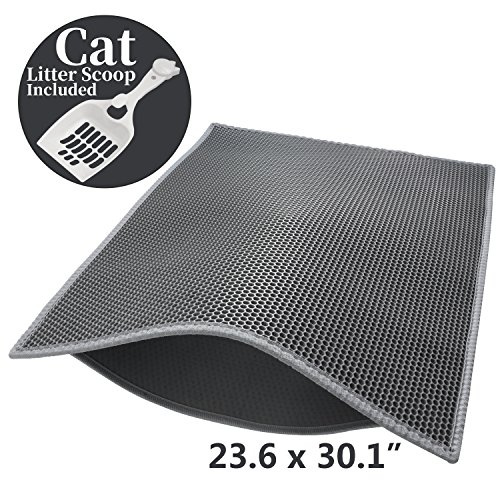 """Pieviev Cat Litter Mat,Kitty Box Litter Trapper Pads of Large Size 30"""" X 24"""", Honeycomb Double-Layer, Waterproof Urine Proof Mat, Easy Clean and Floor Carpet Protection (Mat + Litter Scoop)"""