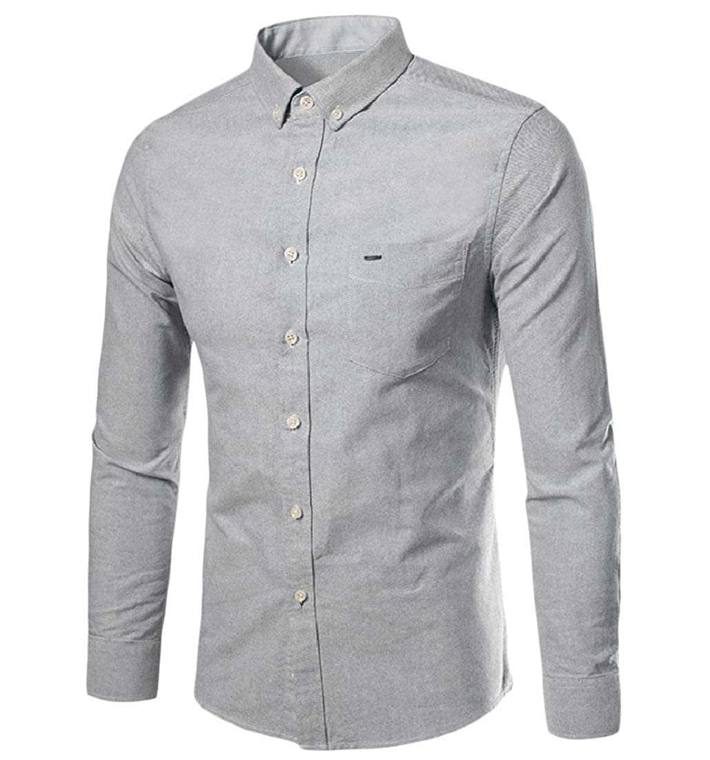 YUNY Mens Button Long Sleeve Business Comfy Blouses and Tops Shirts Grey XL