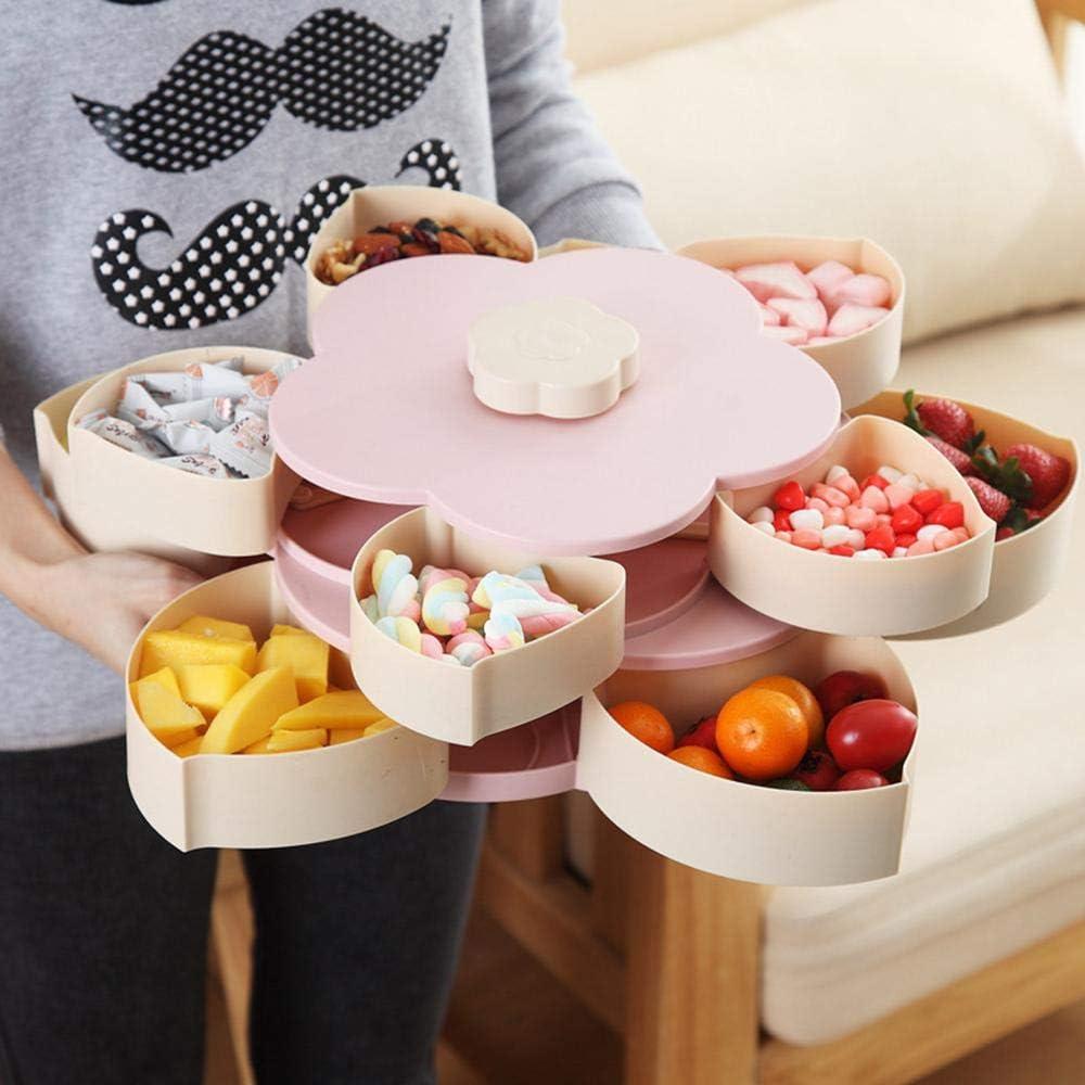 Plato Giratorio de Doble Capa para Servir nueces picnics en el hogar con Forma de Flor y 10 Compartimentos Bandeja para Aperitivos y Frutas Hamkaw Organizador de Almacenamiento para Fiestas