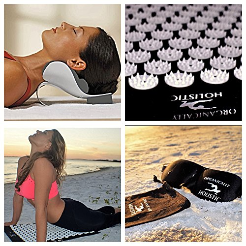 Get All This !! Organically Holistic Acupressure Mat & Cervical Pillow Set for Neck, Back Woe Relief Muscle Stress & Relaxation Acupuncture Meditation Mat Set Includes 4 Items ACUPRESSURE MAT